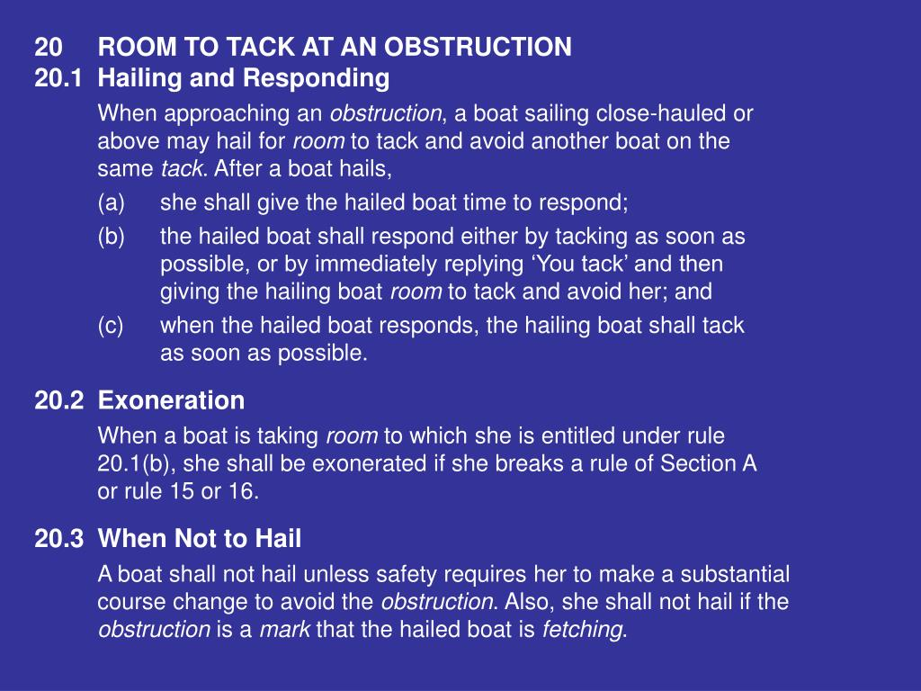 20ROOM TO TACK AT AN OBSTRUCTION