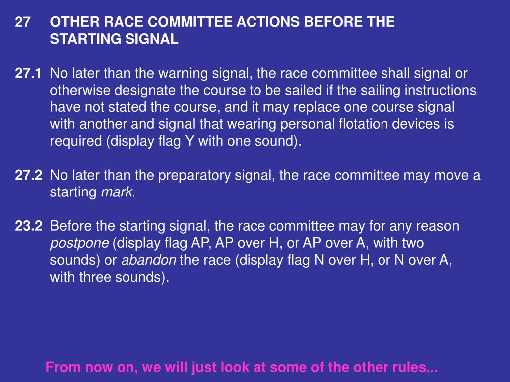 27OTHER RACE COMMITTEE ACTIONS BEFORE THE