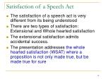satisfaction of a speech act