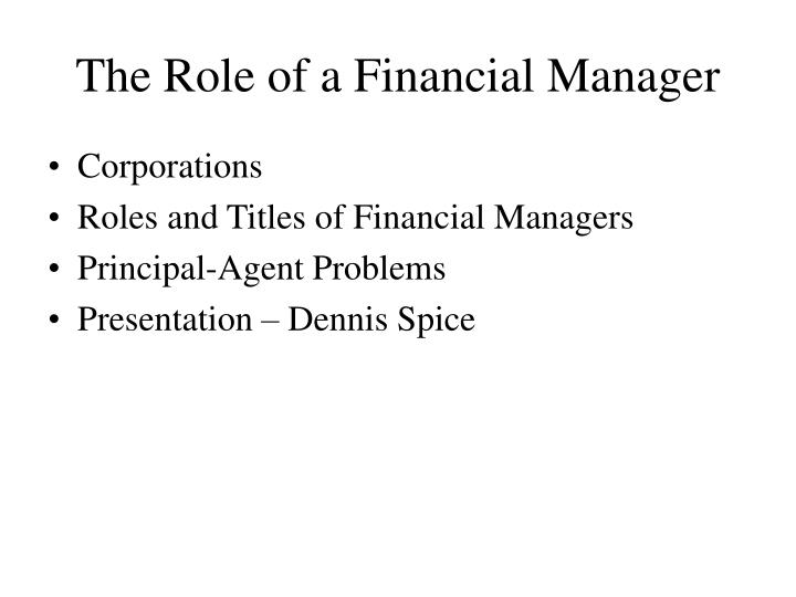 the role of a financial manager n.
