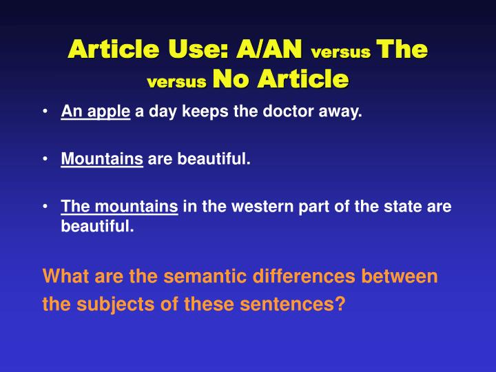 article use a an versus the versus no article n.