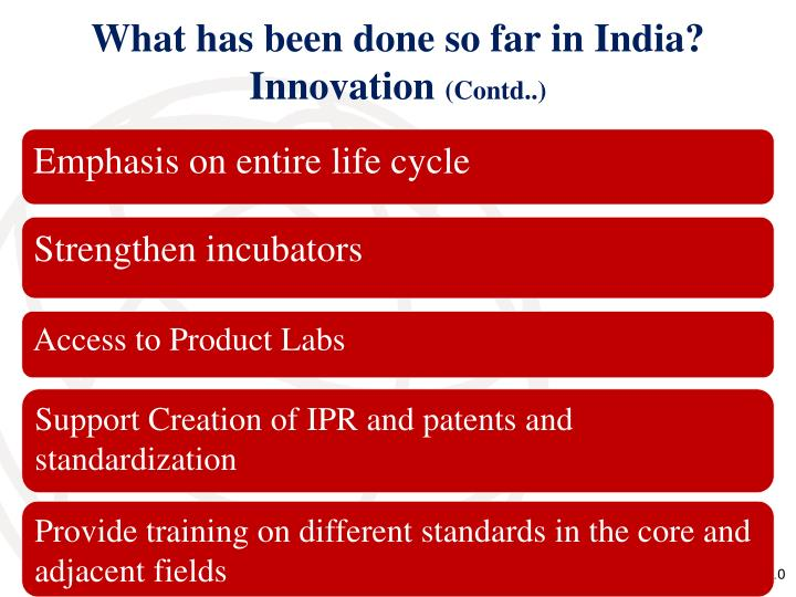 What has been done so far in India? Innovation