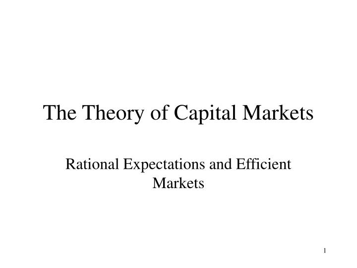 the theory of capital markets n.
