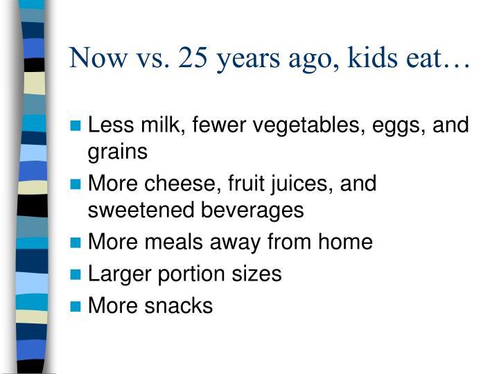 Now vs 25 years ago kids eat
