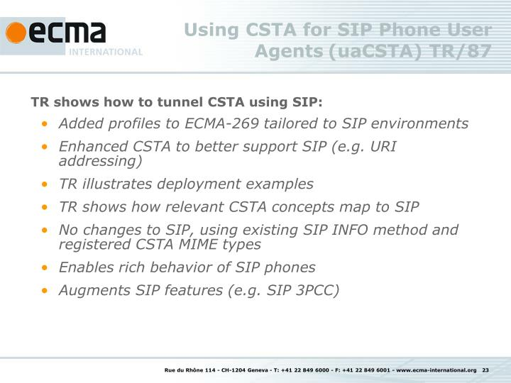 Using CSTA for SIP Phone User Agents