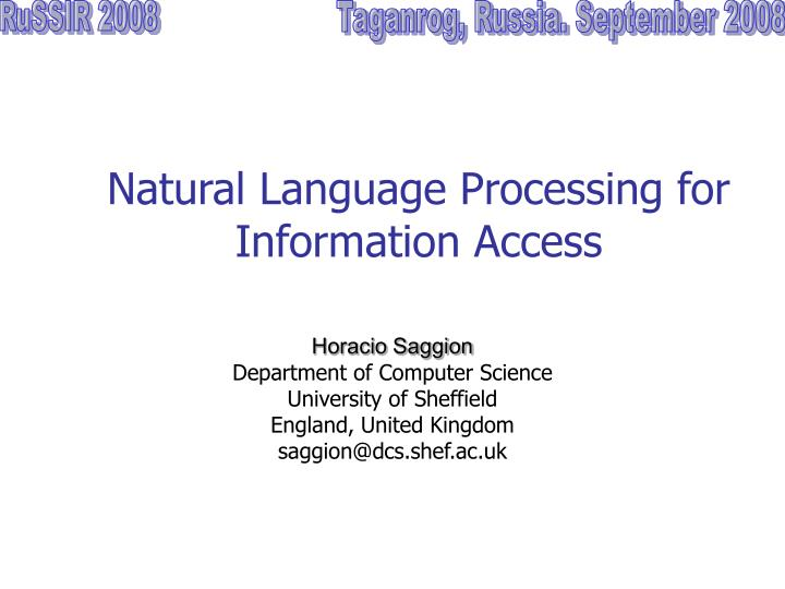 natural language processing for information access n.