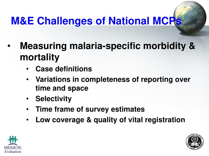 M&E Challenges of National MCPs
