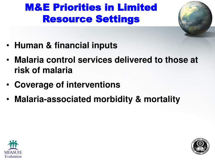 M&E Priorities in Limited Resource Settings
