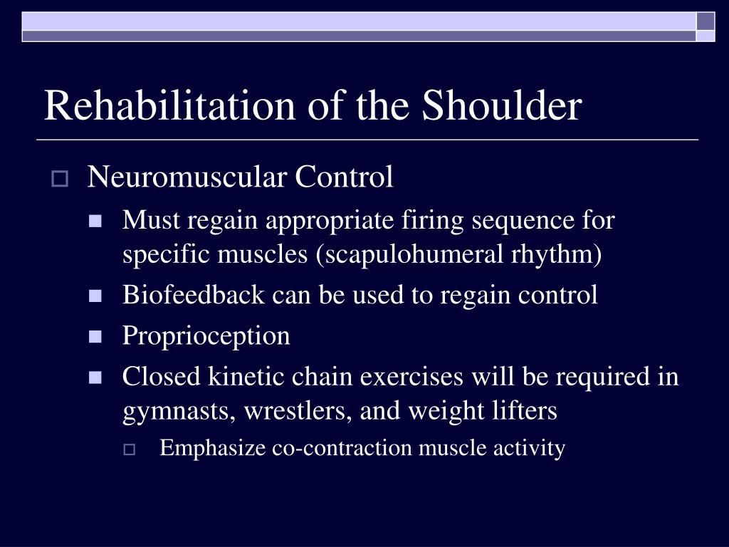 Rehabilitation of the Shoulder