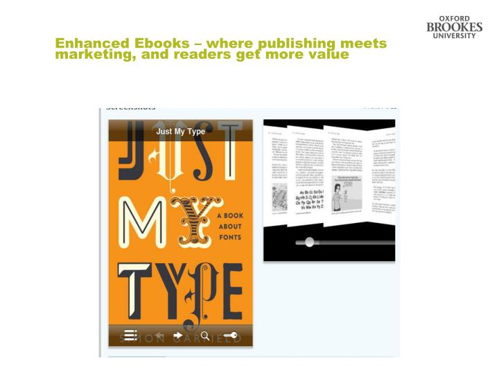 Enhanced Ebooks – where publishing meets marketing, and readers get more value