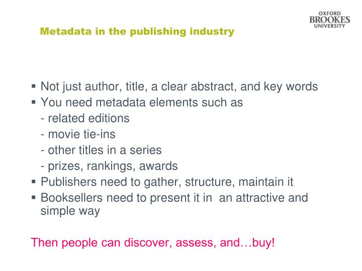 Metadata in the publishing industry