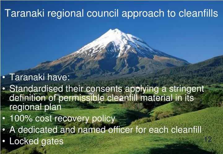 Taranaki regional council approach to cleanfills