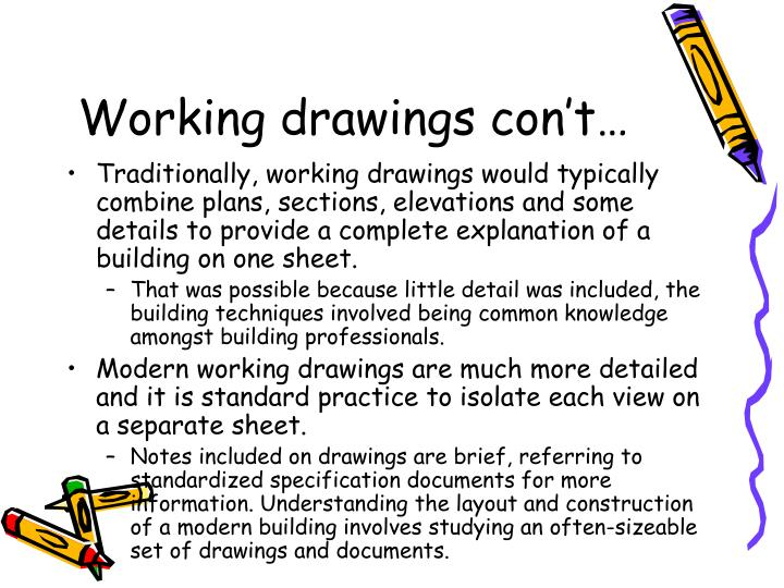 Working drawings con't…