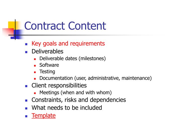 Contract content