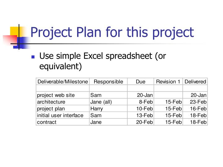 Project Plan for this project