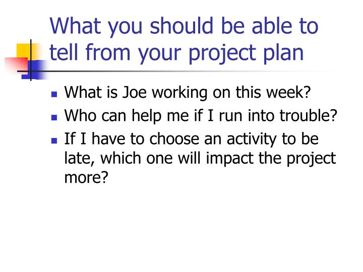 What you should be able to tell from your project plan
