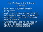 the politics of the internet cypherpunks