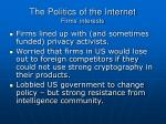 the politics of the internet firms interests