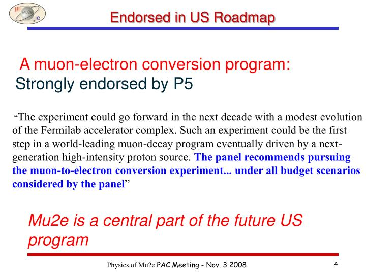 Endorsed in US Roadmap