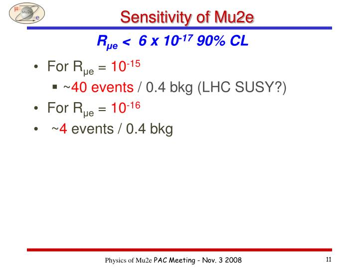 Sensitivity of Mu2e