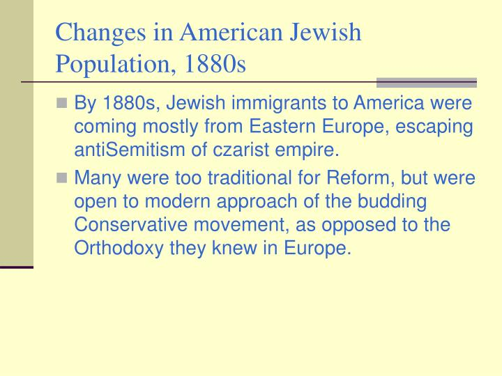 Changes in American Jewish Population, 1880s