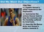 did we meet our objectives2