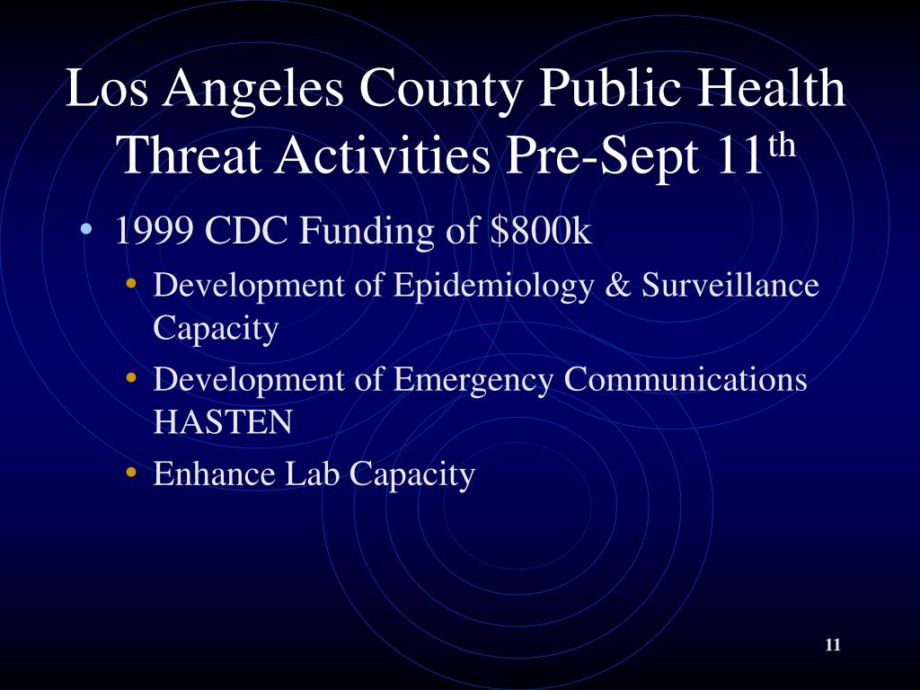 Los Angeles County Public Health Threat Activities Pre-Sept 11