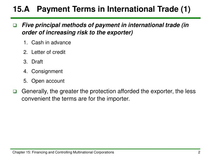 15 a payment terms in international trade 1