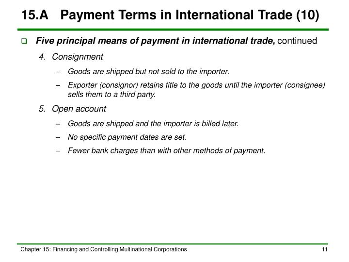 15.A	Payment Terms in International Trade (10)