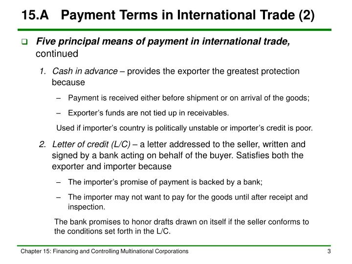15.A	Payment Terms in International Trade (2)