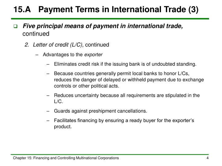 15.A	Payment Terms in International Trade (3)