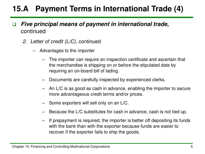 15.A	Payment Terms in International Trade (4)