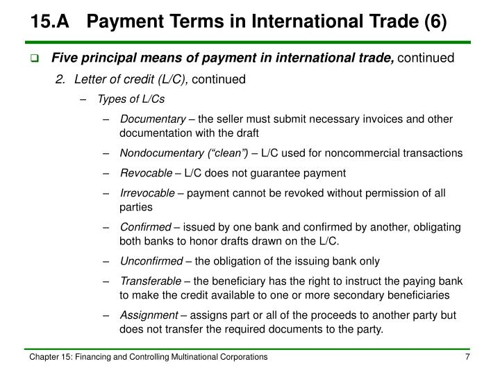 15.A	Payment Terms in International Trade (6)