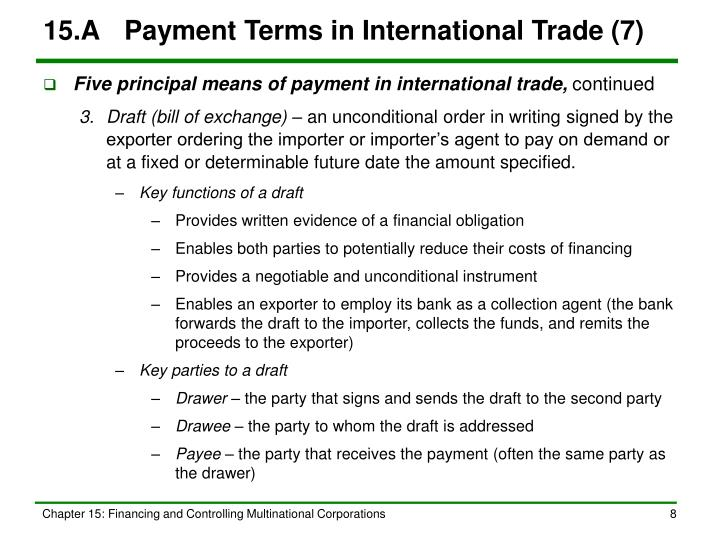 15.A	Payment Terms in International Trade (7)