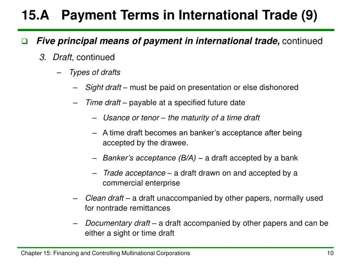 15.A	Payment Terms in International Trade (9)