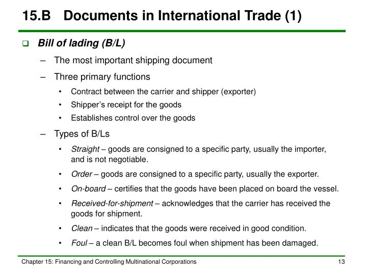 15.B	Documents in International Trade (1)