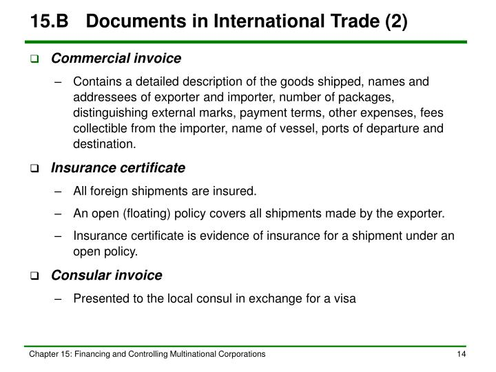 15.B	Documents in International Trade (2)