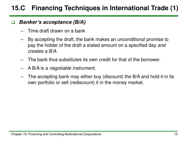 15.C	Financing Techniques in International Trade (1)