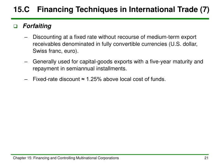 15.C	Financing Techniques in International Trade (7)