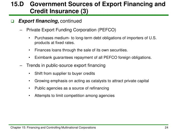 15.D	Government Sources of Export Financing and Credit Insurance (3)