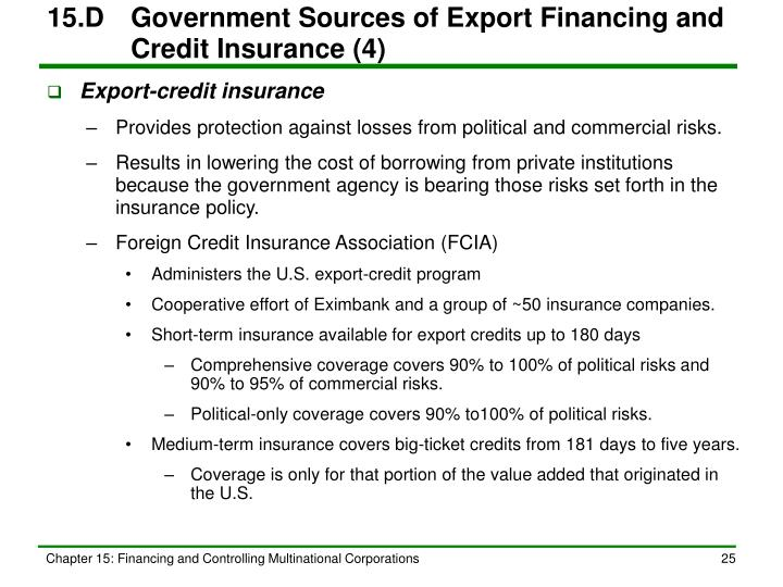 15.D	Government Sources of Export Financing and Credit Insurance (4)