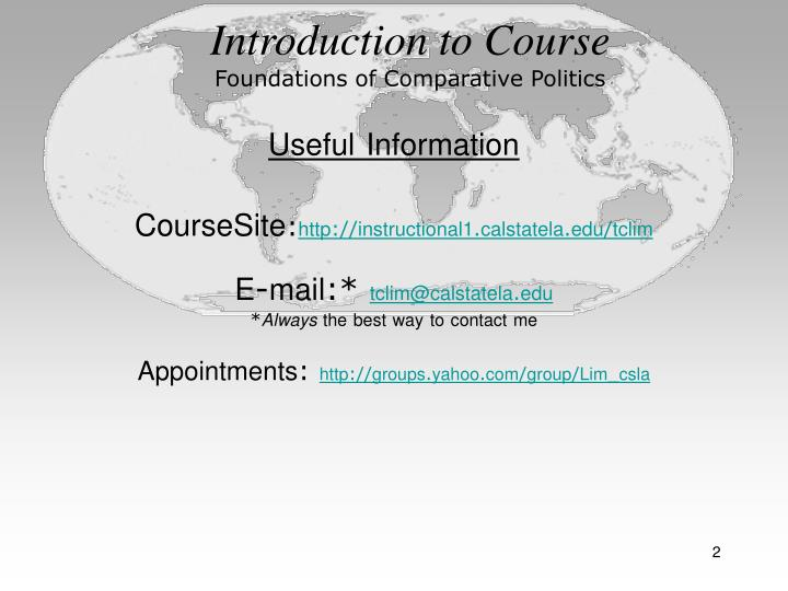 Introduction to course foundations of comparative politics