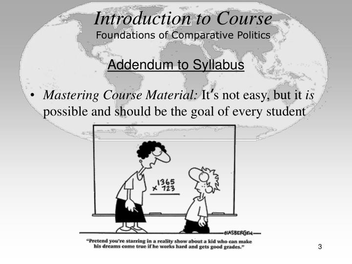 Introduction to course foundations of comparative politics3