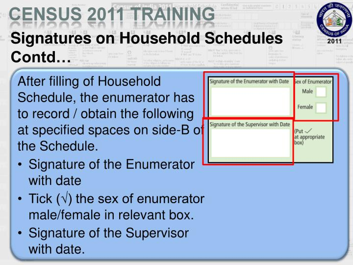Signatures on Household Schedules Contd…