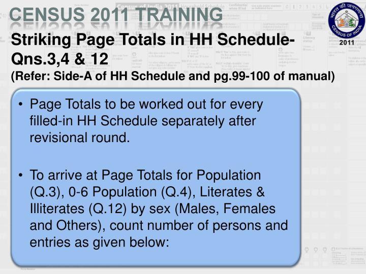 Striking Page Totals in HH Schedule- Qns.3,4 & 12