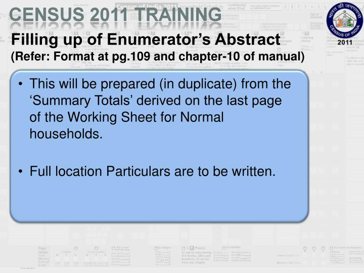 Filling up of Enumerator's Abstract