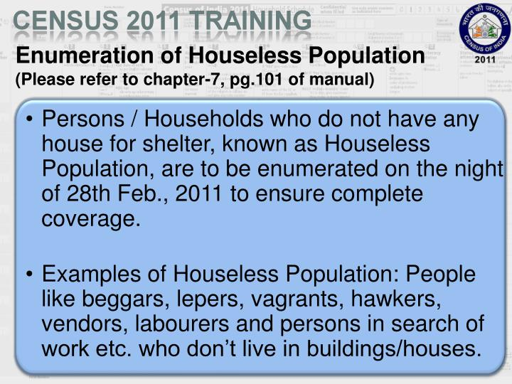 Enumeration of Houseless Population