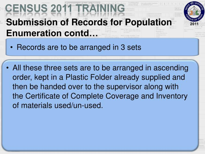 Submission of Records for Population Enumeration contd…