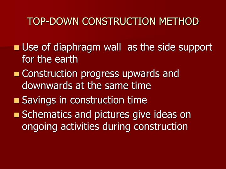 top down construction method n.