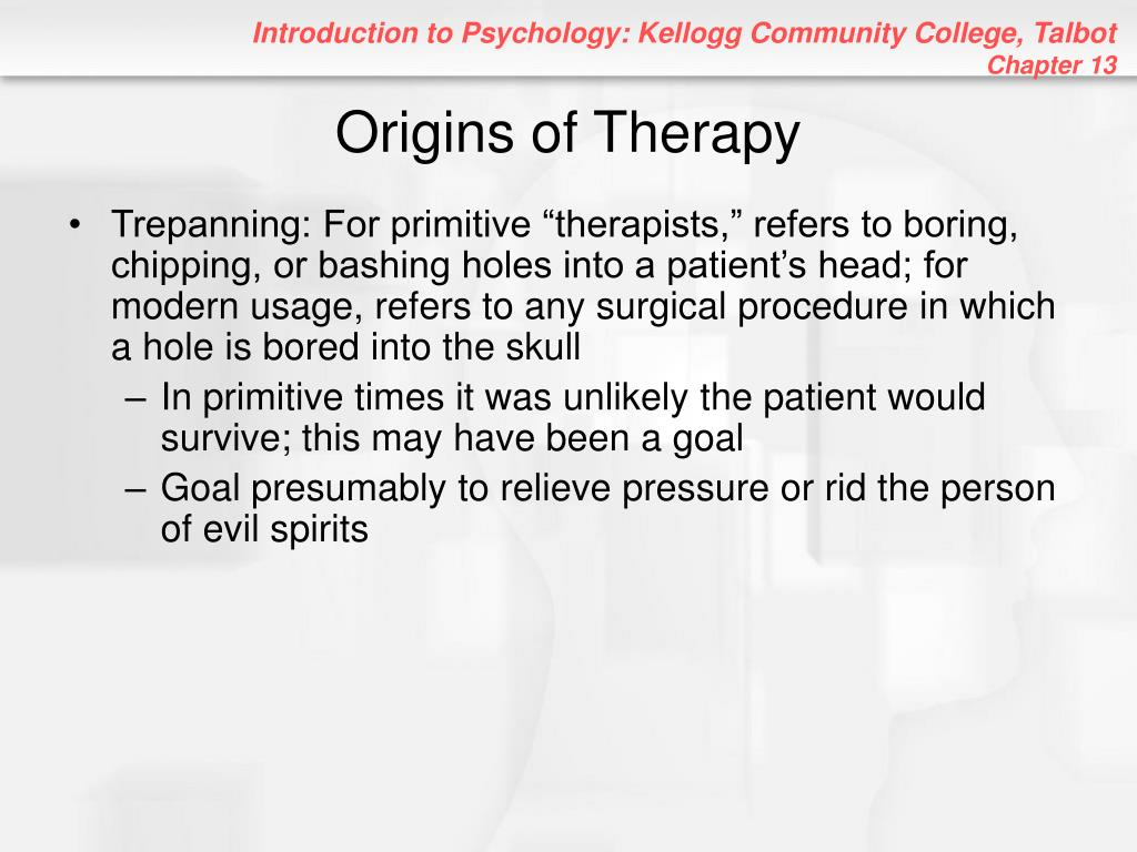 Origins of Therapy